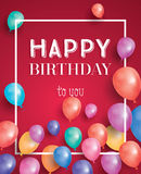 Happy birthday card with flying balloons and white frame. Vector illustration Stock Photography