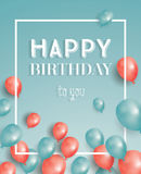 Happy Birthday Card with Flying Balloons and White Frame. Vector Illustration Royalty Free Stock Photography