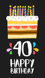 Happy Birthday card 40 forty year cake. Happy birthday number 40, greeting card for forty years in fun art style with cake and candles. Anniversary invitation Stock Images