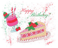 Happy birthday card with fruit cake and smoothie. Happy birthday card with strawberry cake, smoothie and watercolor paint splashes with text on white. Hand drawn Stock Photography