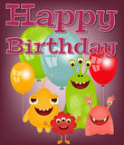 Happy Birthday Card. With Fun Cartoon Aliens and Galaxy Monsters Royalty Free Stock Photos