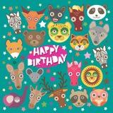 Happy birthday card funny animals muzzle,  Stock Photography