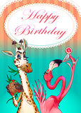 Happy Birthday card with funny animals Stock Photography