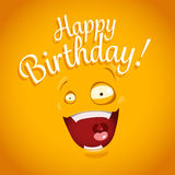 Happy Birthday card with funny cartoon emotion face Royalty Free Stock Image