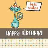 Happy birthday card with funny doodle cat Royalty Free Stock Photos