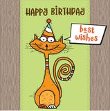 Happy birthday card with funny doodle cat Stock Photo