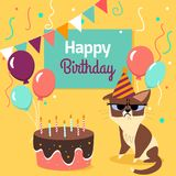 Happy birthday card with funny grumpy cat, cake, colorful balloons on bright yellow background. Vector illustration. Stock Photos