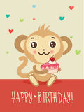 Happy Birthday Card With Funny Monkey And Cake In His Hands. Cute Cartoon Animal Vector. Funky Monkey. Stock Photography