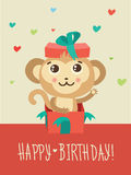 Happy Birthday Card With Funny Monkey Surprise In A Gift Box. Funky Monkey Vector. Stock Images