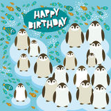 Happy birthday card funny penguins on an ice floe Royalty Free Stock Photo