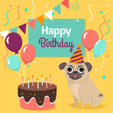 Happy birthday card with funny pug dog, cake, colorful balloons on bright yellow background. Vector illustration. Stock Images