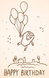Happy birthday card. Funny sheep with balloons, Royalty Free Stock Photo