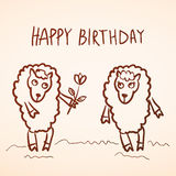 Happy birthday card. Funny sheep girl and boy with Stock Photo