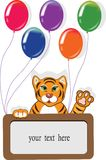 Happy birthday card with funny tiger and balloons. Royalty Free Stock Photos