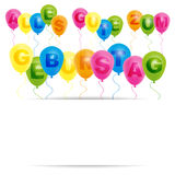 Happy Birthday Card - German. Happy Birthday Card- Color Balloons With With Happy Birthday Sign - German version vector illustration