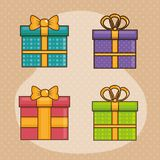 Happy birthday card with giftboxes. Vector illustration design Royalty Free Stock Images