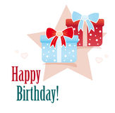 Happy birthday card with gifts Royalty Free Stock Image
