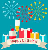 Happy birthday card with gifts, champagne. Sweet cake and fireworks Royalty Free Stock Photo