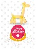 Happy birthday card giraffe ballon shape confetti ribbon Stock Photo