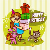 Happy Birthday Card Girl Bunny Cat Royalty Free Stock Photo