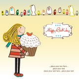 Happy Birthday card with girl and cupcake Royalty Free Stock Photos