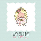 Happy Birthday card for girl. cute little girl. doodle. Stock Photo