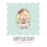 Happy Birthday card for girl. cute little girl. doodle. Stock Photography