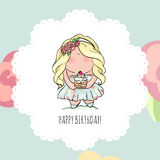 Happy Birthday card for girl. cute little girl. doodle. Royalty Free Stock Photos