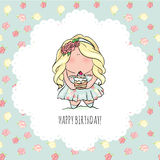 Happy Birthday card for girl. cute little girl. doodle. Royalty Free Stock Photo