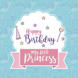 Happy birthday card for girls. Cute birthday card magic world concept vector illustration graphic design Stock Photo