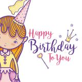 Happy birthday card for girls. Cute birthday card with princess cartoon vector illustration graphic design Stock Images