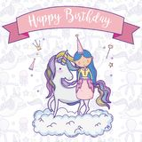 Happy birthday card for girls. Cute birthday card with princess and pony cartoon vector illustration graphic design Royalty Free Stock Images
