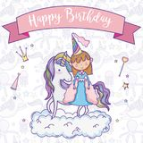 Happy birthday card for girls. Cute birthday card with princess and pony cartoon vector illustration graphic design Stock Photography