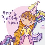 Happy birthday card for girls. Cute birthday card with princess and pony cartoon vector illustration graphic design Royalty Free Stock Image