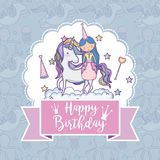 Happy birthday card for girls. Cute birthday card with princess and pony cartoon vector illustration graphic design Stock Images