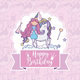 Happy birthday card for girls. Cute birthday card with princess and pony cartoon vector illustration graphic design Royalty Free Stock Photo