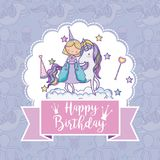 Happy birthday card for girls. Cute birthday card with princess and pony cartoon vector illustration graphic design Royalty Free Stock Photos