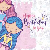 Happy birthday card for girls. Cute birthday card with princesses cartoon vector illustration graphic design Stock Images