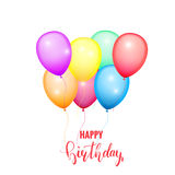 Happy Birthday card. Glossy color balloons. Festive birthday card template with lettering and balloons Royalty Free Stock Photo