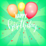 Happy Birthday card. Glossy color balloons. Festive birthday card template with lettering and balloons Stock Image