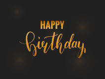 Happy Birthday card. Golden calligraphy. Festive birthday card template with lettering and confetti Royalty Free Stock Photography