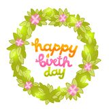 Happy Birthday card with green spring wreath Royalty Free Stock Photos