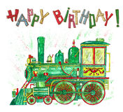 Happy birthday card with green train for kids Stock Image