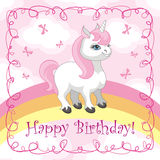 Happy birthday card. Happy birthday greeting card with a picture of a cute unicorn. Vector illustration Stock Photo