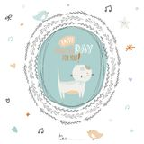 Happy Birthday card with greeting wish and cute Stock Photos