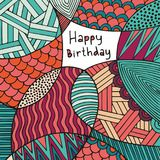 Happy Birthday. Card. Hand drawing. Colorful decorative background Royalty Free Stock Photography