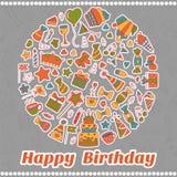 Happy Birthday card. Hand drawn birthday elements Stock Images