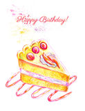 Happy birthday card with hand drawn cake Royalty Free Stock Image