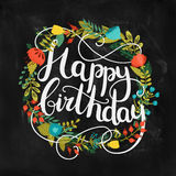 Happy birthday card with hand drawn lettering Stock Images