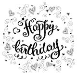 Happy birthday card, hand drawn lettering on white background. Stock vector illustration royalty free illustration